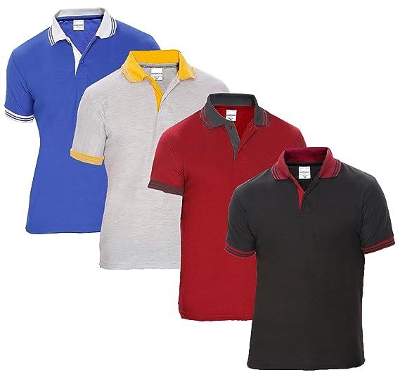 20aa468f Baremoda Men's Polo T Shirt Black Maroon Grey and Blue Combo Pack of 4  (Medium