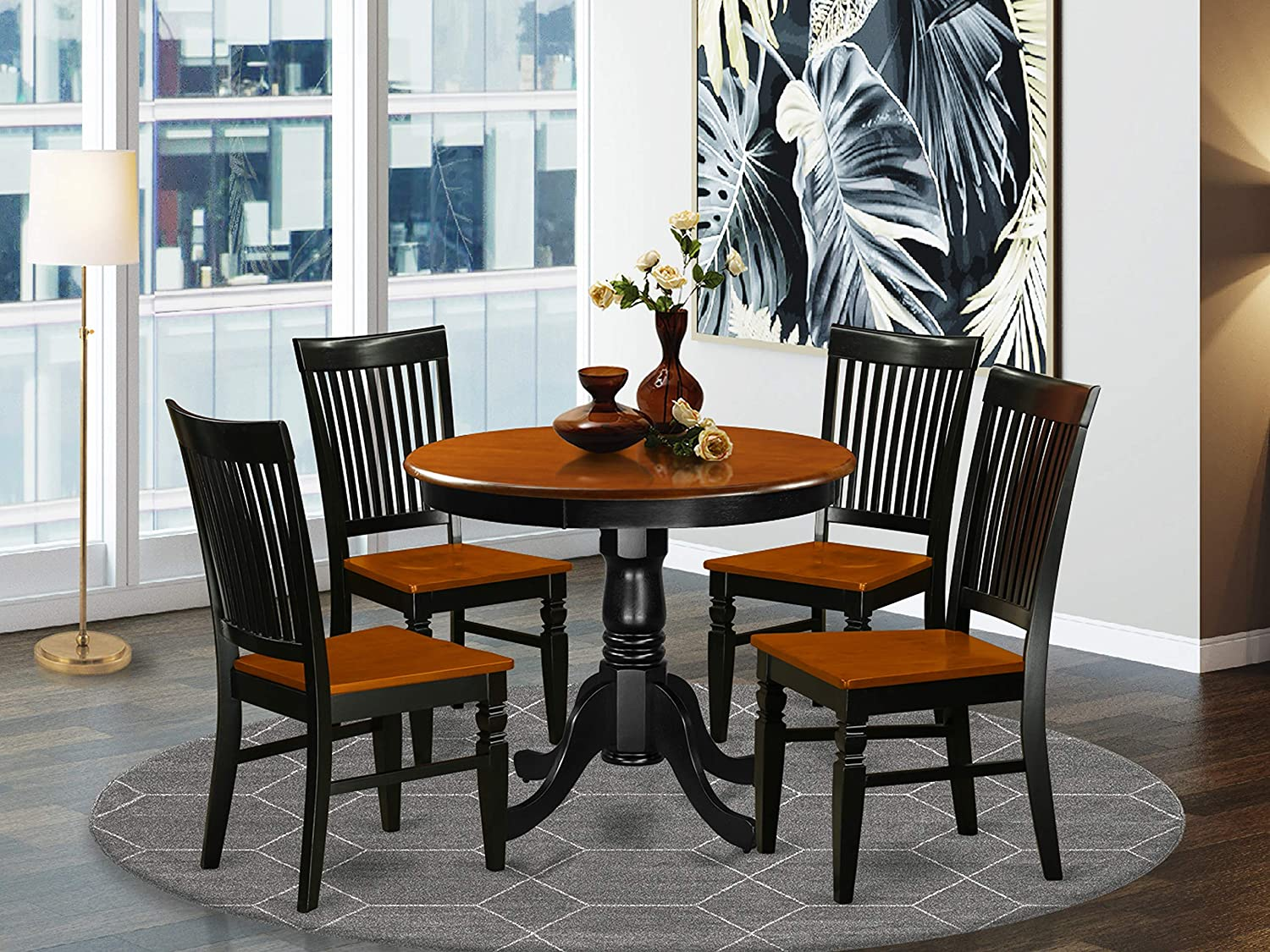 East West Furniture Kitchen dining table set 4 Wonderful kitchen chairs - A Attractive dinner table- cherry Color Wooden Seat cherry and black dining room table