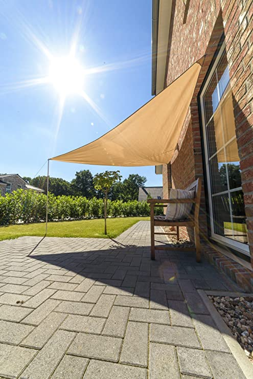 Outent® toldo (3, 6 x 3, 6 x 3, 6 m Impermeable Protector Solar Protección UV Beige: Amazon.es: Jardín