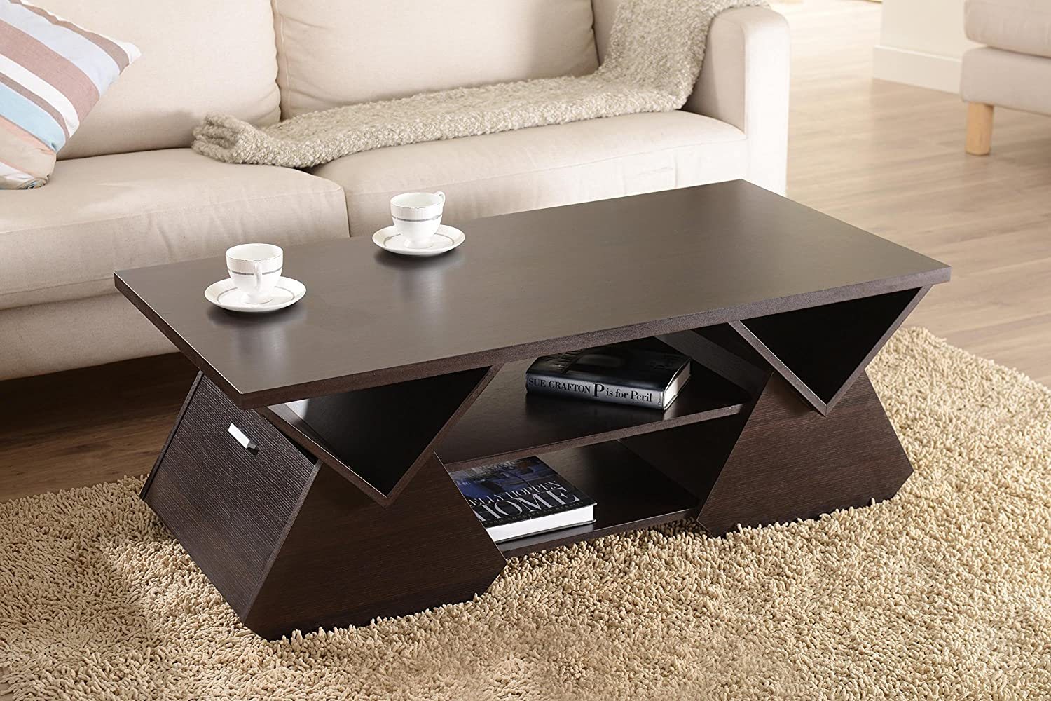 Amazon.com: IoHOMES Chinua Modern Coffee Table, Espresso: Kitchen U0026 Dining