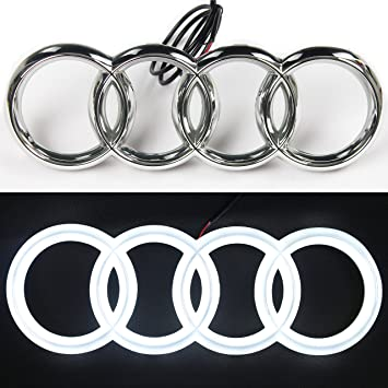 Lights Drl Daytime Running Lights White - Jetstyle LED Emblem Front Car Grill Badge Auto Illuminated Logo 285 mm Glowing Rings