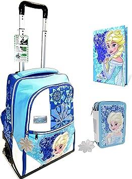Trolley Mochila Escolar Frozen Reina de los Helados 3 Ruedas + Estuche 3 Pisos Completo + Diario + Llavero girabrilla + Regalo 10 bolígrafos con Purpurina: Amazon.es: Equipaje