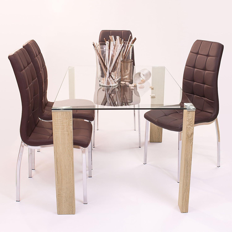 Elegante mesa transparente de comedor con patas metálicas de apariencia a madera.