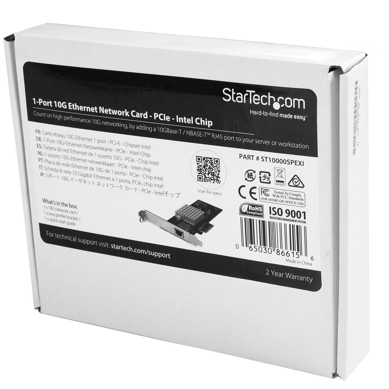 StarTech.com 10G Network Card - NBASE-T - RJ45 Port - Intel X550 chipset - Ethernet Card - Network Adapter - Intel NIC Card (ST10000SPEXI)