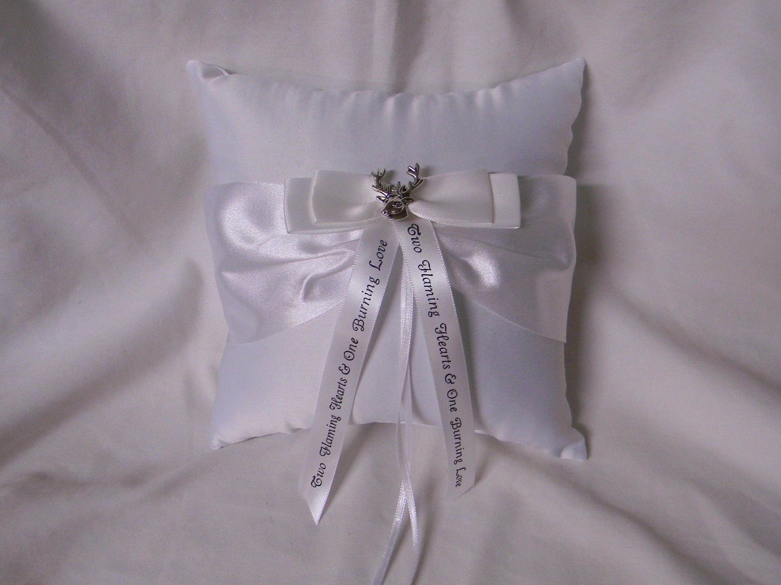 Wedding ceremony Party Ring bearer Pillow Deer Hunter with Message Ribbon by Custom Design Wedding Supplies by Suzanne