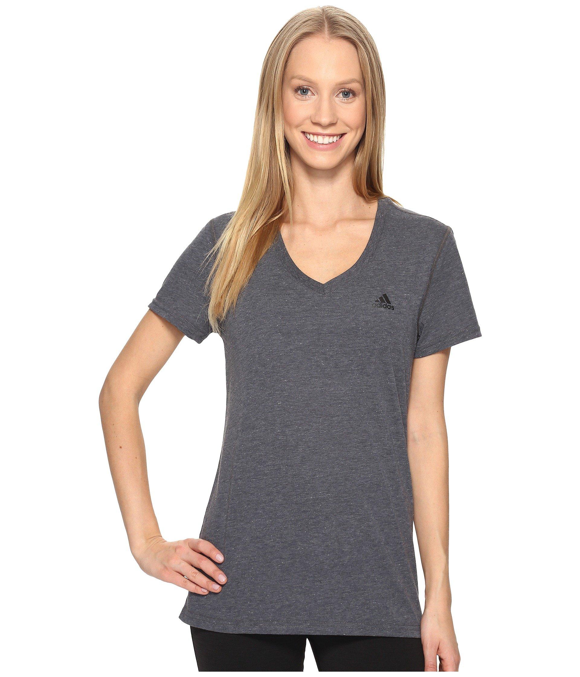 adidas Women's Training Ultimate Short Sleeve V-Neck Tee, Dark Grey Heather/Black, X-Small