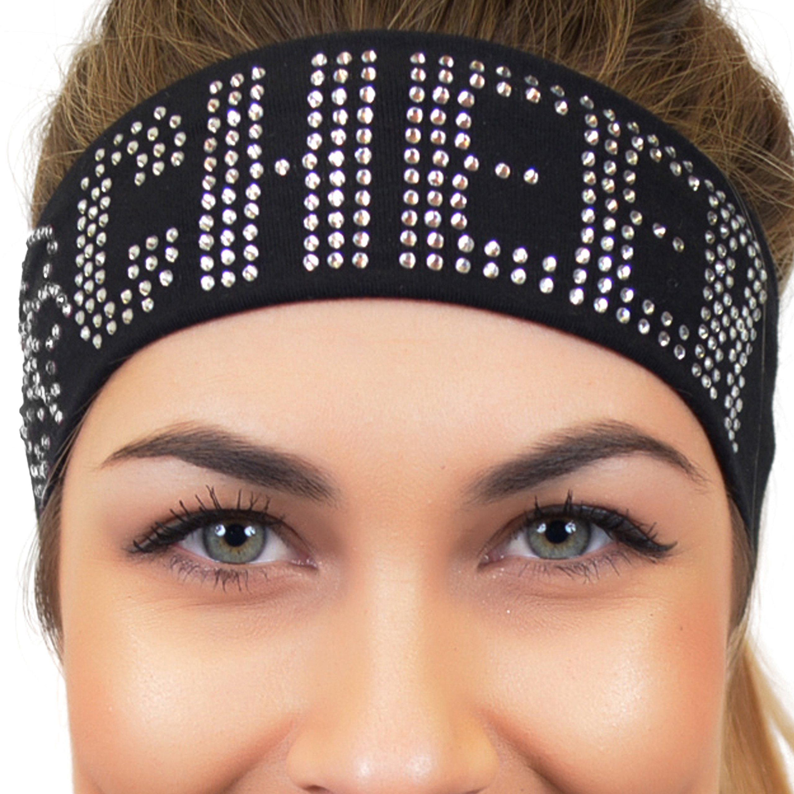 Stretch Is Comfort Girl's CHEER Rhinestone Wide Cotton Headband Black by Stretch is Comfort (Image #3)