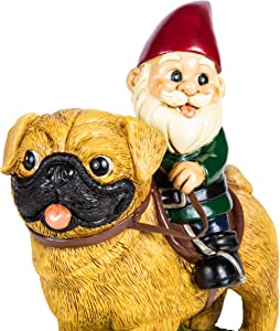KwirkWorks Garden Gnome - Pug Lawn Statue Figurine - 9 inches Tall