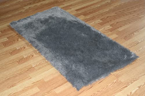Flokati Faux Fur Rugs 3 x 5 Grey
