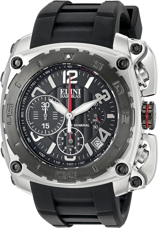 Elini Barokas Men s ELINI-20010-01-BB The General Analog Display Swiss Quartz Black Watch