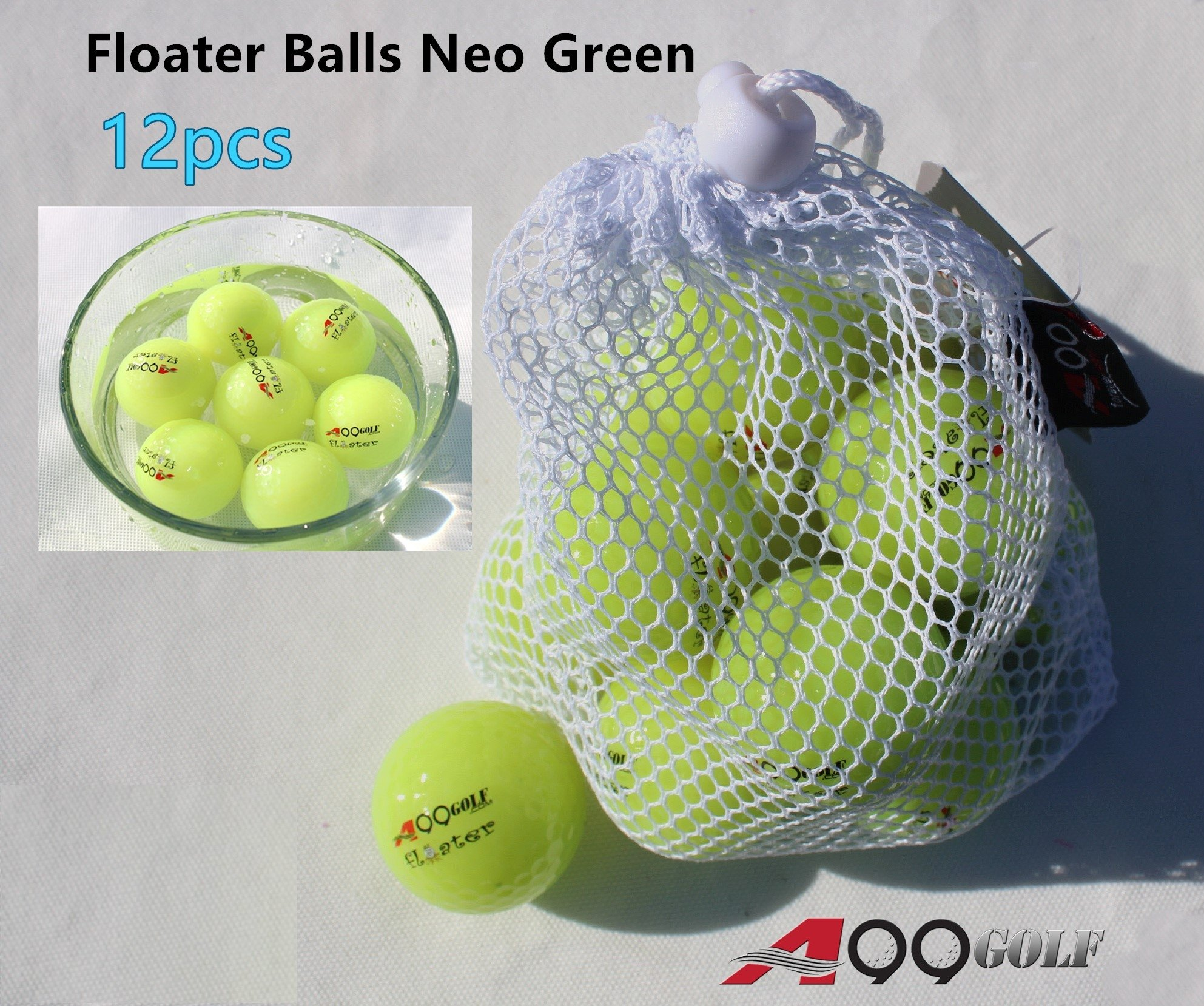 A99 Floating Golf Balls Floater Ball Float Water Range New (Neo Green 12 Balls/Pack) by A99 Golf