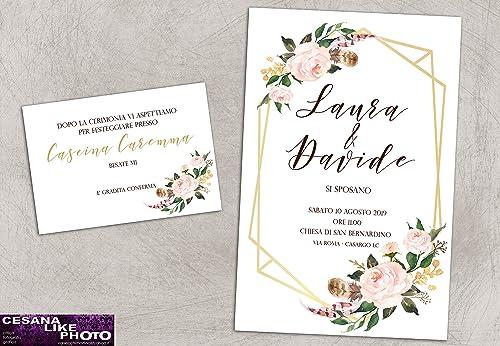 Partecipazioni Matrimonio 500.Partecipazioni Matrimonio Personalizzate Inviti Nozze Geometrico