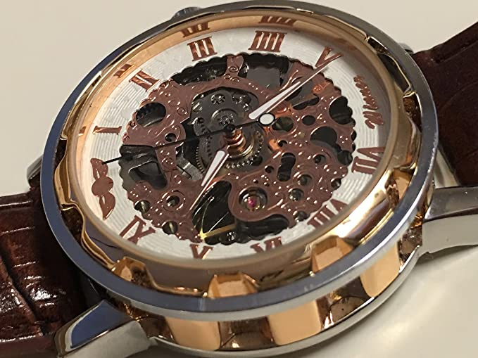 Amazon.com: Memories of fashion WRG8034M3G3Latest Winner Automatic skeleton men with gift box watch brown leather strap factory company relojes: Sports & ...