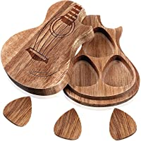 Guitar Wooden Box Holder Guitar Shaped Pick Box Wooden Collector with 3 Pieces Wood Guitar Picks Engraved Guitar Pick…