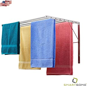 Smartsome Clothes Drying Rack – 20 Foot, Wall Mounted Clothing Rack