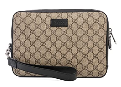b4a8dcc0833f Image Unavailable. Image not available for. Color: Gucci Natural Beige  Ebony Black Gg Supreme Canvas Crossbody Mens bag New