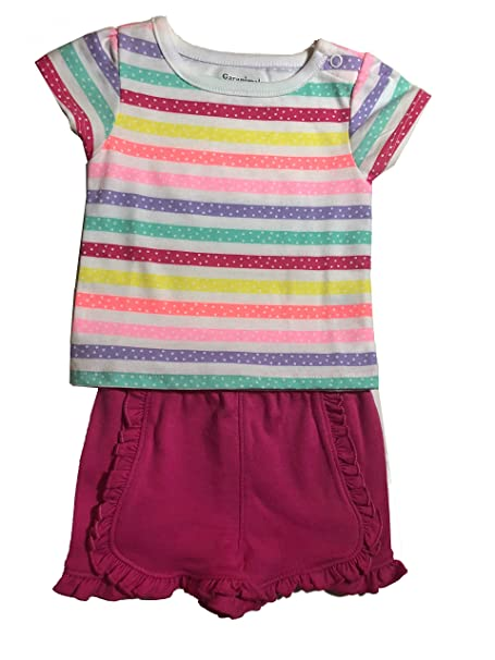 6b5bfb8974f3 Amazon.com: Garanimals Baby Girls Short Sleeve Shirt With Polka Dot Rainbow  Stripes With Snap and Pink Shorts With Ruffes 0-3 Months: Clothing