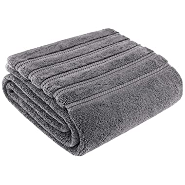 American Soft Linen Luxury Oversized Turkish Bath Sheet Towel, Extra Large 35x70 inches, Jumbo Size, Genuine Ring Spun Cotton for Absorbency and Softness, Rockridge Grey