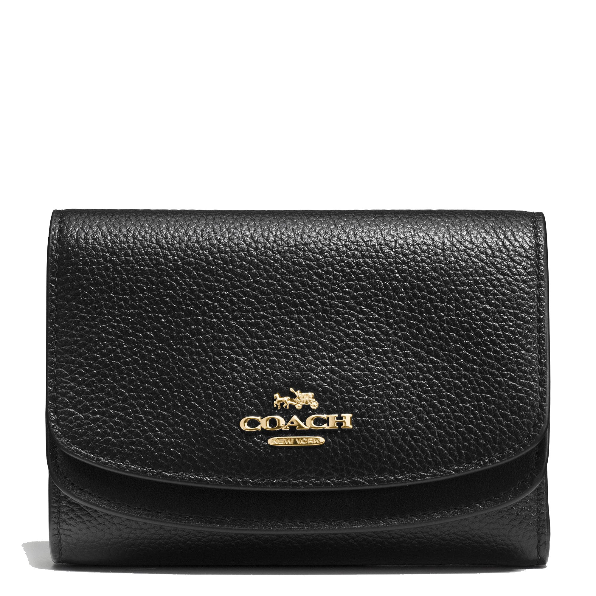 Coach Medium Double Flap Wallet In Pebble Leather Light Gold/Black. Style 55760 LIBLK by Coach