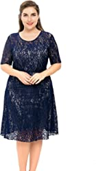 073059d795f Chicwe Women s Plus Size Stretch Lined Floral Flare Lace Dress - Knee  Length Casual Party Cocktail