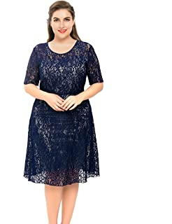 173a3578a75 Chicwe Women s Plus Size Stretch Lined Floral Flare Lace Dress - Knee  Length Casual Party Cocktail