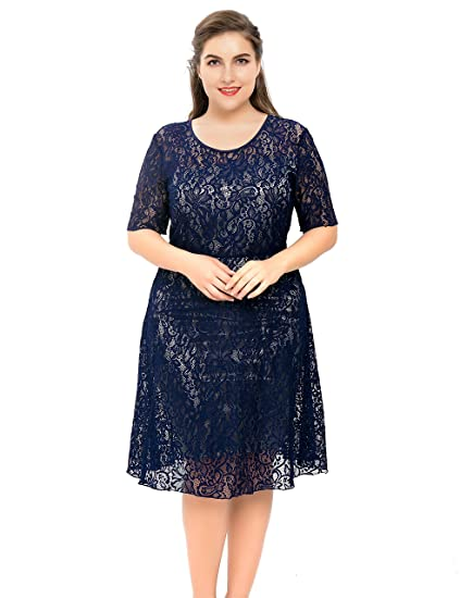 a578062ba161a3 Chicwe Women's Plus Size Stretch Lined Floral Flare Lace Dress - Knee  Length Casual Party Cocktail