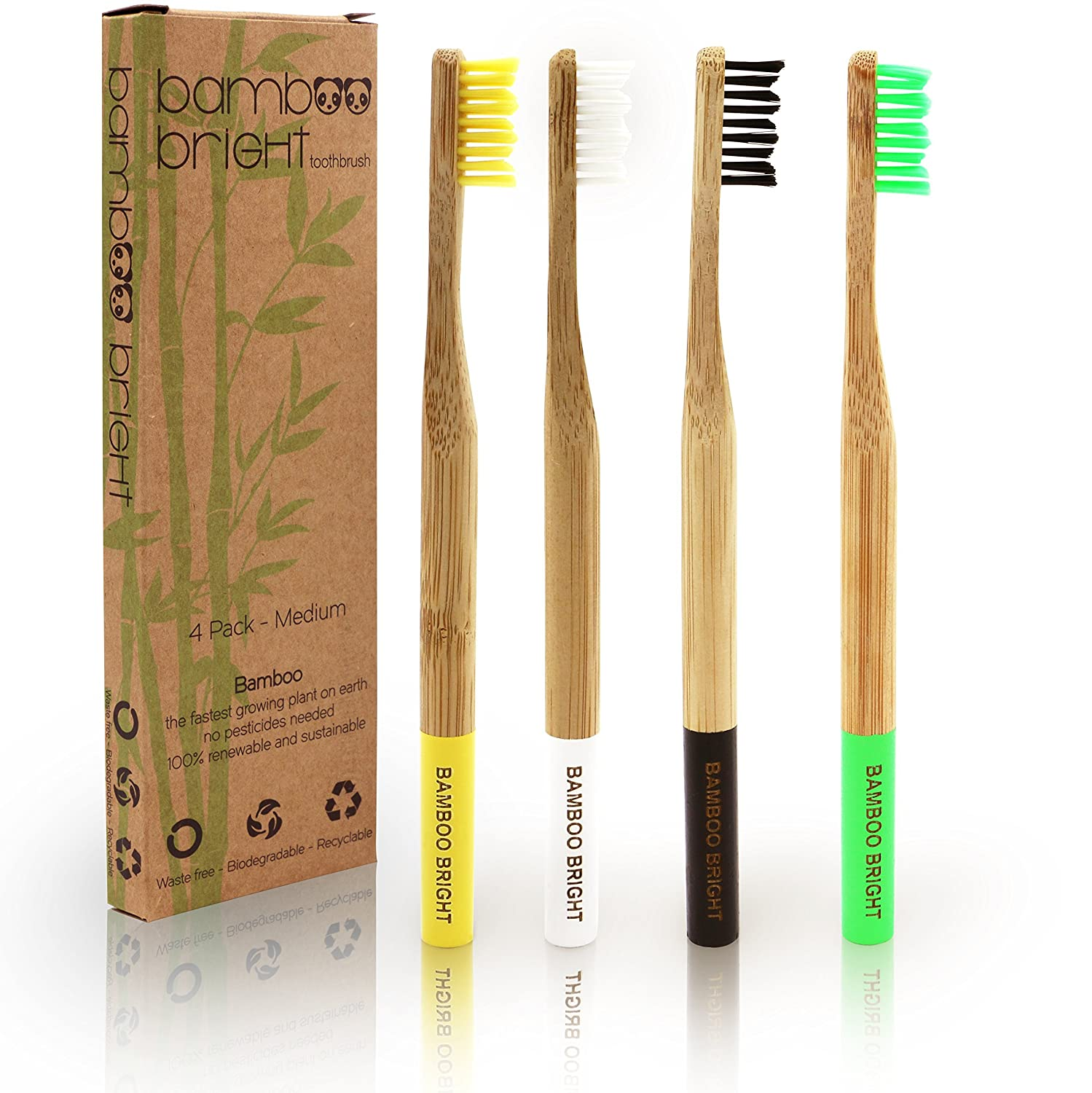 4 Durable Waste Free Bamboo Toothbrushes By Bamboo Bright | Medium Soft | Minimal Packaging | Biodegradable And Sustainable, Bpa Free Brushes | Great For Families   4 Different Colours | Luxury Feel | Long Lasting And Guaranteed! by Amazon