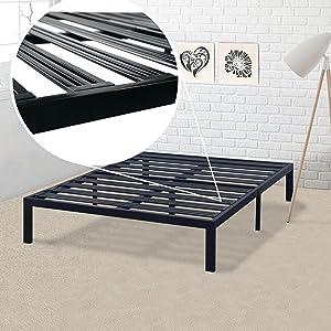 Best Price Mattress Model E Heavy Duty Steel Slat Platform Bed Frame, Box Spring Replacement Foundation, Full, Black