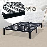 Best Price Mattress Model E Heavy Duty Steel Slat Platform Bed Frame, Box Spring Replacement Foundation, Twin, Black