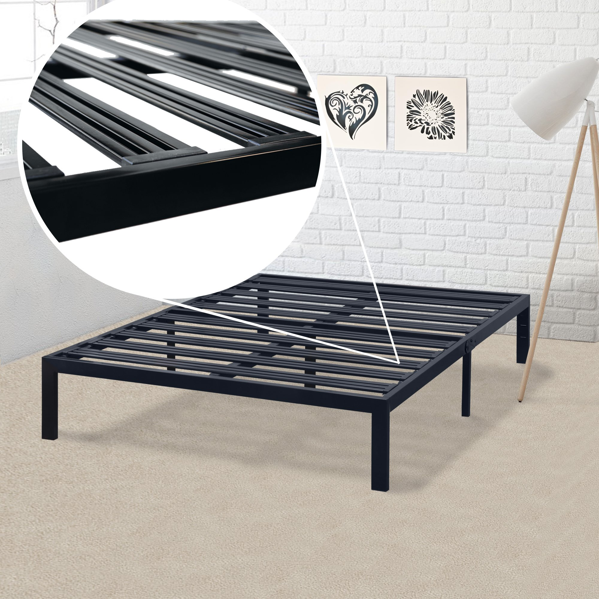 Mellow BP-E-BKQ Rocky Base E 14'' Platform Bed, Queen, Black
