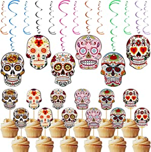 42 Pieces Day of Dead Party Decorations Skull Cutouts Hanging Foil Swirl Decoration Skull Cupcake Topper Decor Swirl Party Supplies for Halloween Candy Birthday Party Skull Party Mexican Fiesta