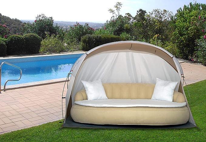 Dekovita Tumbona de jardín hinchable 220x130cm Sofá cama incl. Almohada Colchón Canopy 2-3 personas hasta 200KG Beige