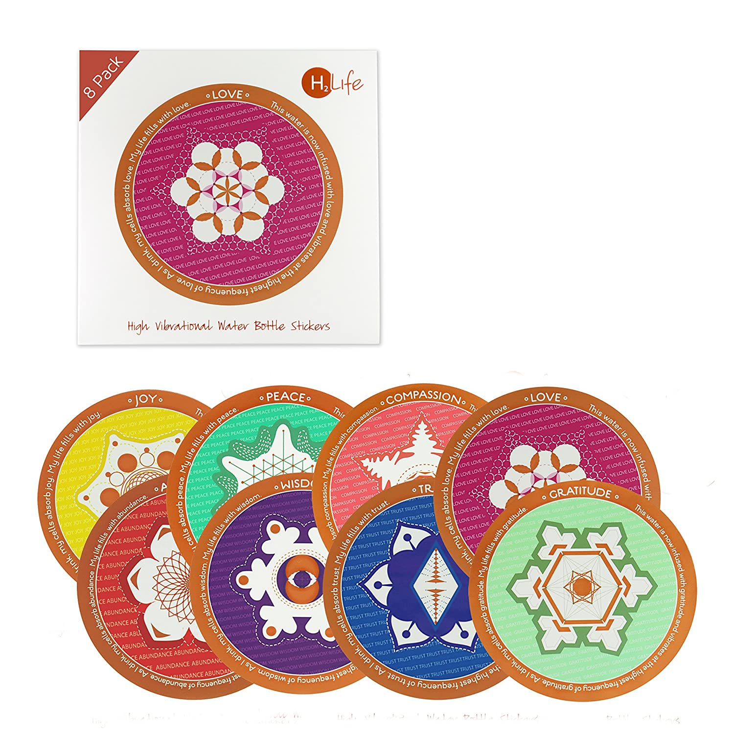 H2Life - Sacred Geometry Stickers - High Vibe Stickers - Water Bottle  Accessories - 8 Pack (Sacred Geometric)
