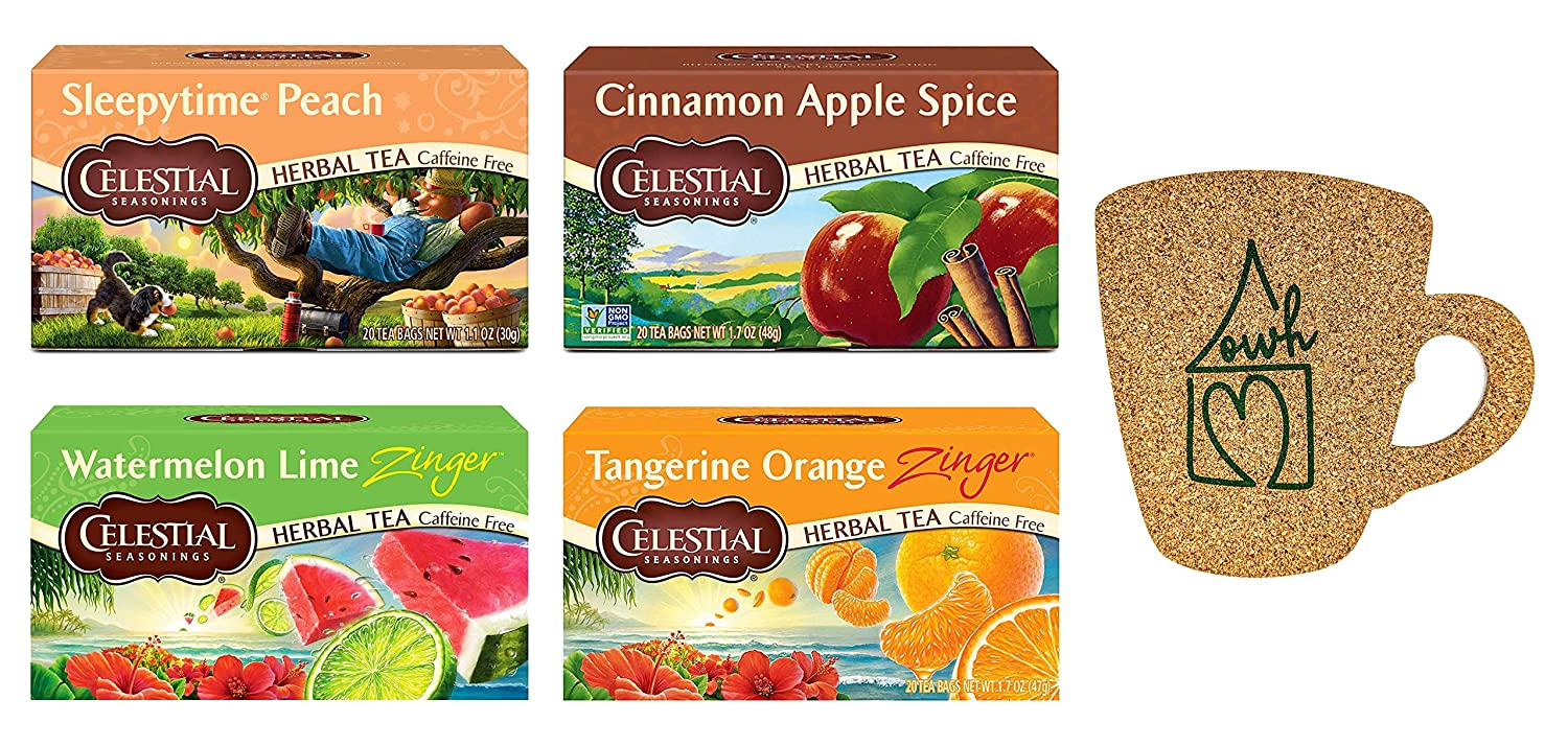 Celestial Seasonings Tea and Our Wholesome Home Coaster Combo with Tangerine Orange Zinger, Cinnamon Apple Spice, Sleepytime Peach, Watermelon Lime Zinger and OWH Coaster