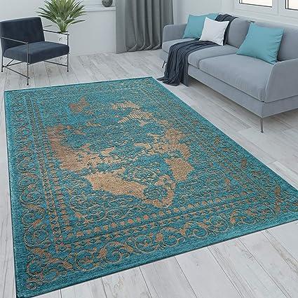 Paco Home Orient Kurzflor Teppich Wohnzimmer Moderne Vintage Optik Türkis  Beige, Grösse:10x10 cm
