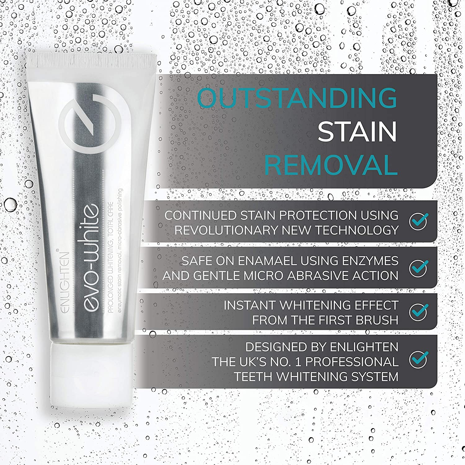 433757f75fe Evo White Teeth Whitening Toothpaste - by Enlighten | 75ml | Stain Removing  Formula to Make Teeth Look Whiter and Healthy Using Enamel Science  Technologies ...