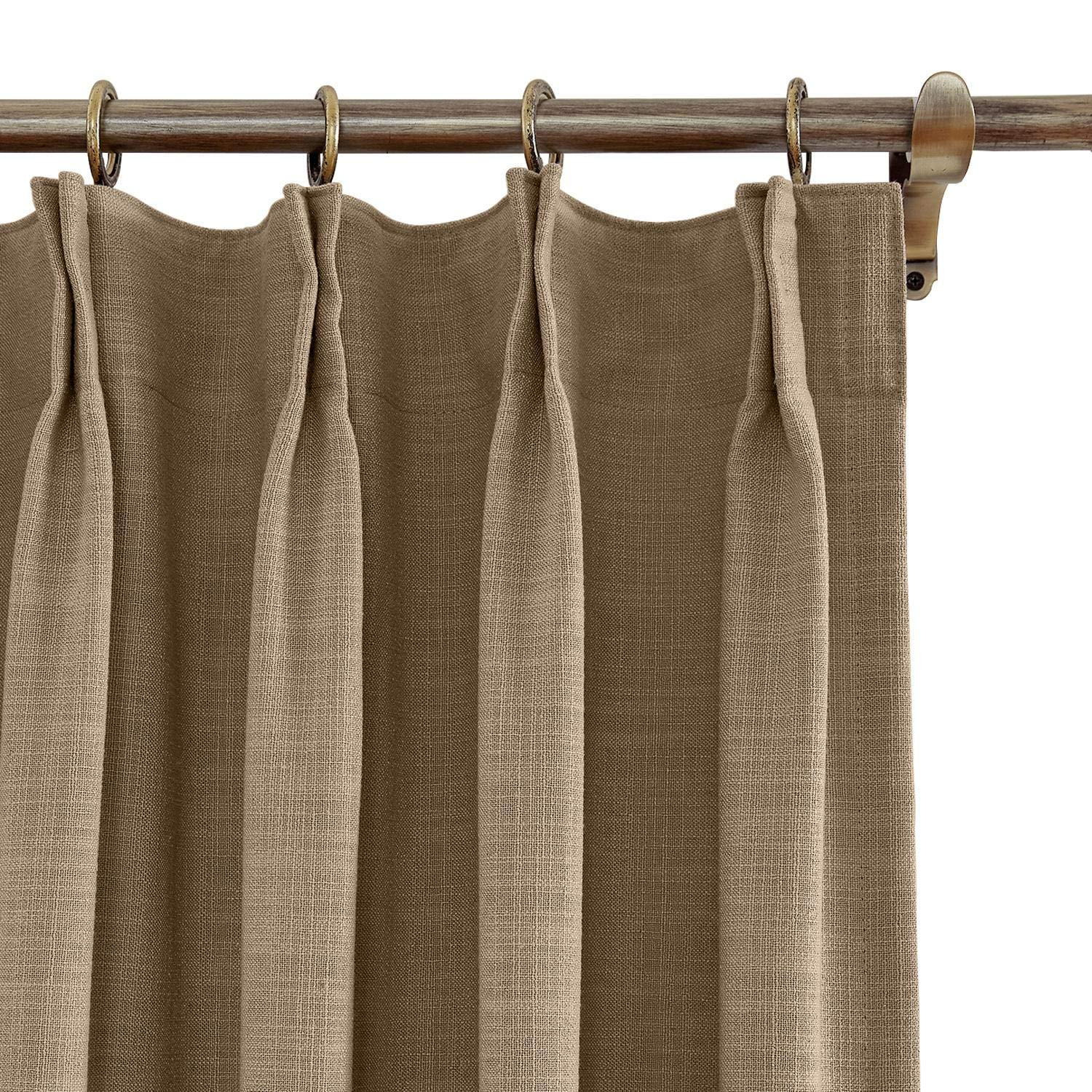 Cottontree Homesoft FirstHomer Polyester Linen Curtain Thermal Blackout Lining Pinch Pleat Drape for Sliding Door Patio Door Bedroom,100W84L,1 Panel, Brown