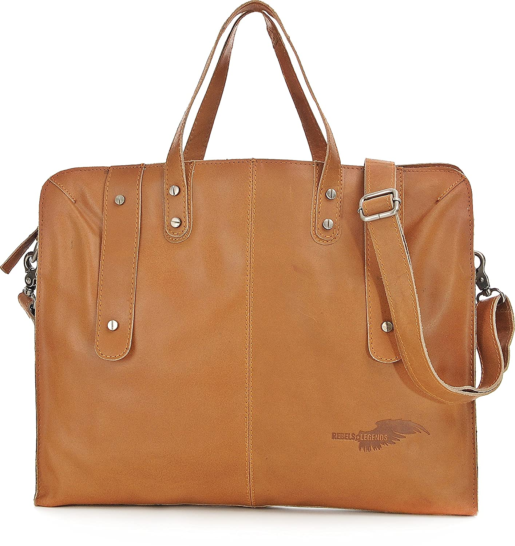REBELS & LEGENDS, Unisex Handtaschen, Aktentaschen, Messenger-Bags, Messenger, Umhängetaschen, Leder, 38,5 x 33 x 4 cm (B x H x T) Umhängetaschen Farbe:Braun