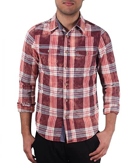 5e7157508f Image Unavailable. Image not available for. Color: Slim Fit Pigment-Dyed  Plaid Shirt from X-Ray Jeans