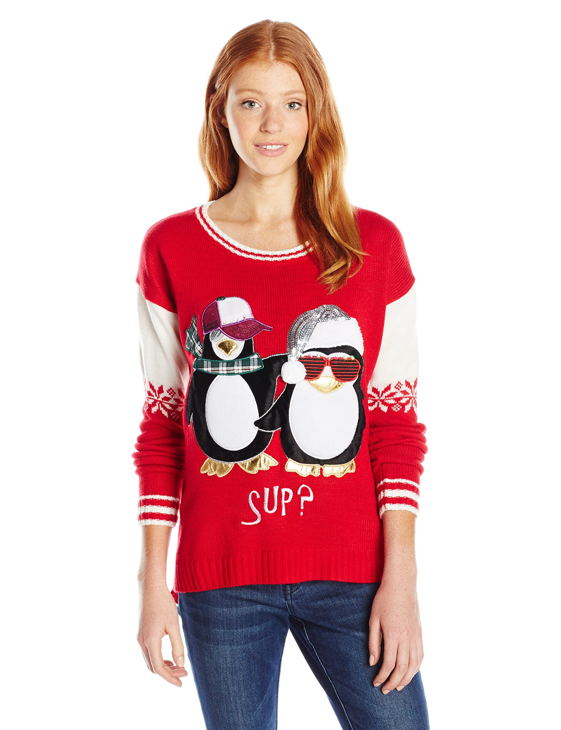 Blizzard Bay Juniors Sup Penguin Light up Pullover Sweater, Christmas Red, L