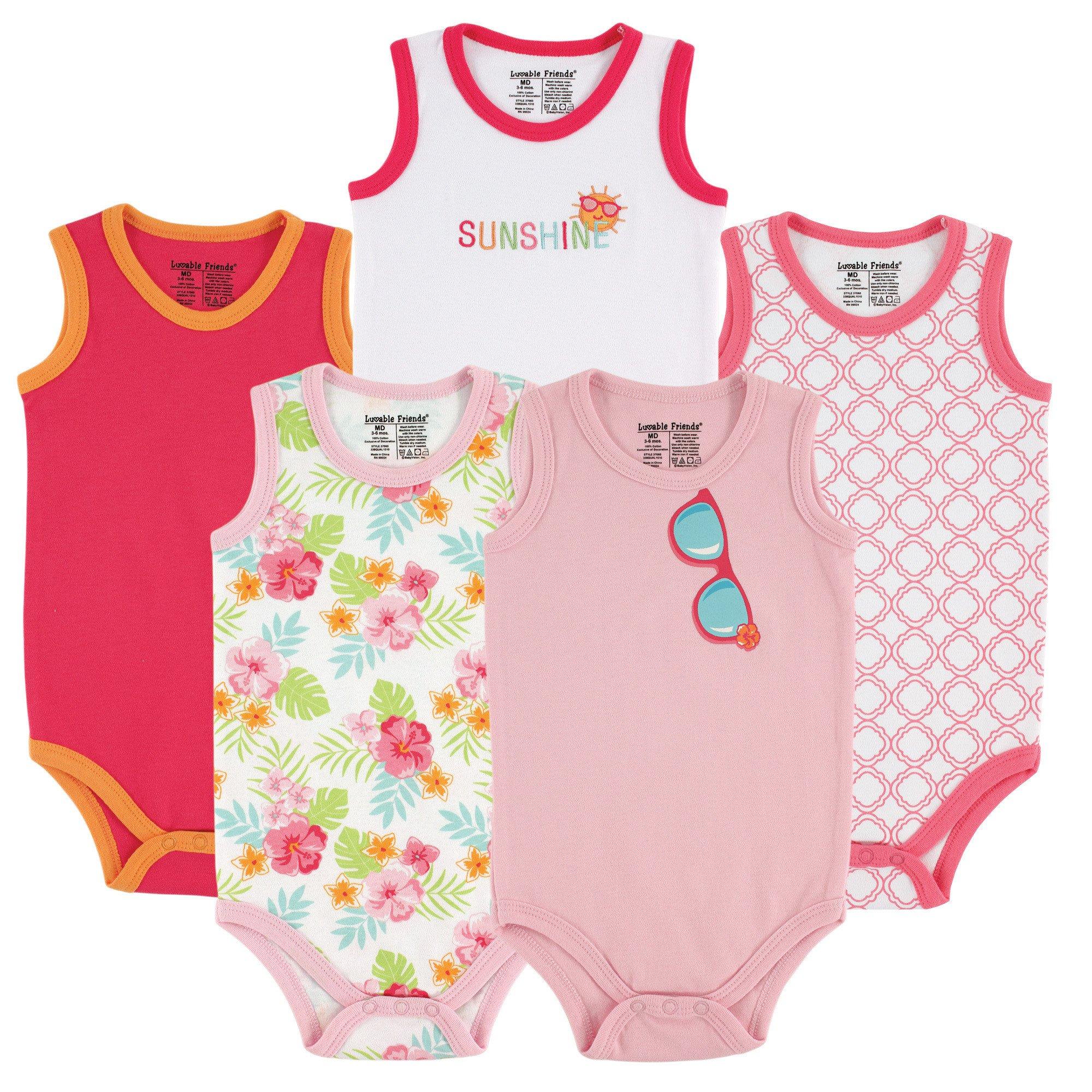 Luvable Friends Baby Infant 5-Pack Lightweight Sleeveless Bodysuits, Girl Sunglasses, 9-12 Months
