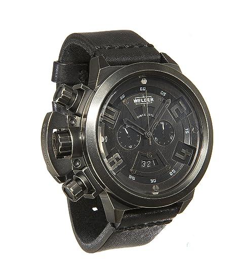 Welder K24-3603 - Reloj para hombres, correa de cuero color negro