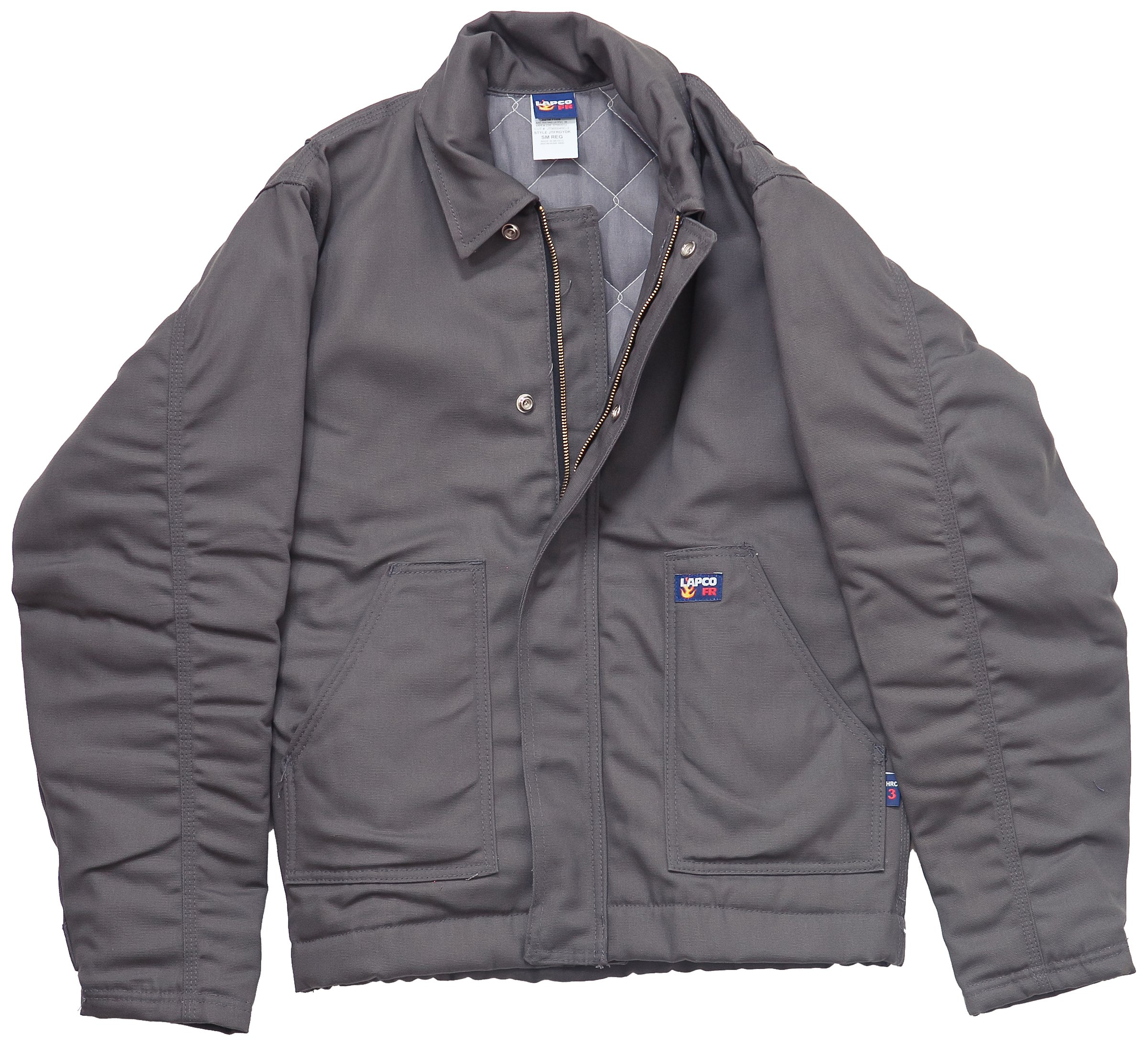 LAPCO JTFRGYDK-2XL RG 12-Ounce Flame Resistant Duck Insulated Jacket, Grey