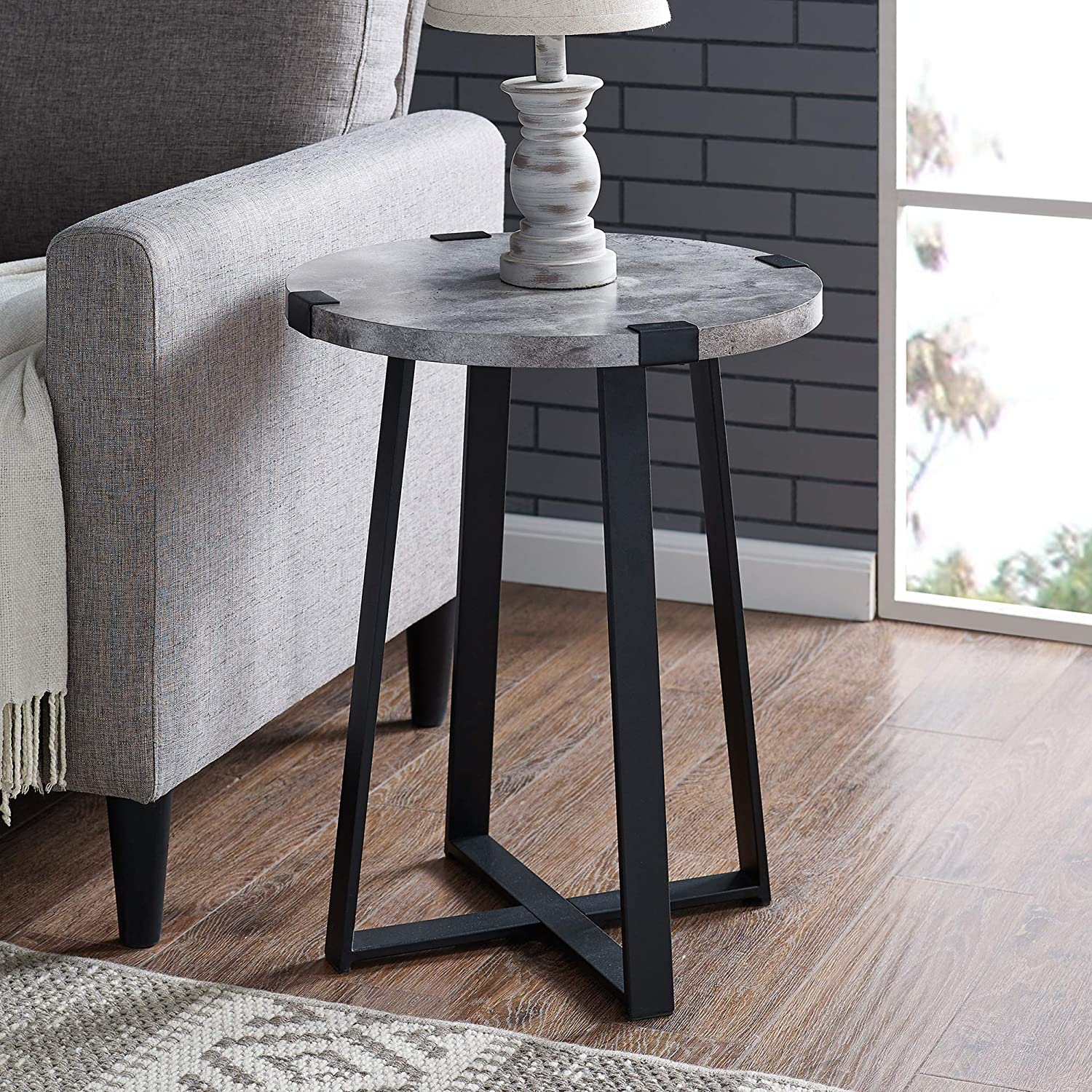 WE Furniture AZF18MWSTDC Rustic Farmhouse Round Metal Side End Accent Table Living Room, 18 Inch, Dark Concrete