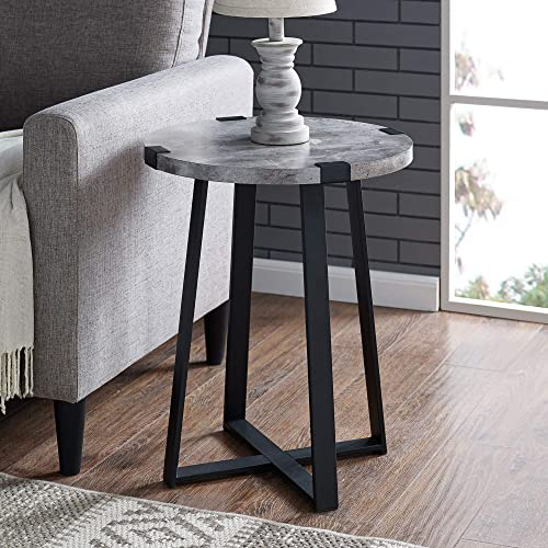 WE Furniture Rustic Farmhouse Round Metal Side End Accent Table Living Room, 18 Inch, Dark Concrete