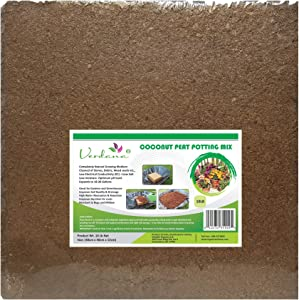 Verdana Coconut Fiber Potting Mix - 10 Lb Compressed Block Brick - Coco Coir, Coco Peat, Coir Pith - Alternative to Peat Moss – Soilless Growing Medium - Low EC, Optimum pH, High Expansion