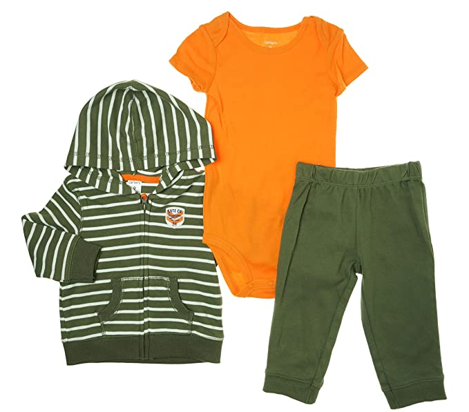 2ed465734d30 Amazon.com  Carter s Baby Boys 3 Piece Hooded Cardigan Set (Striped ...