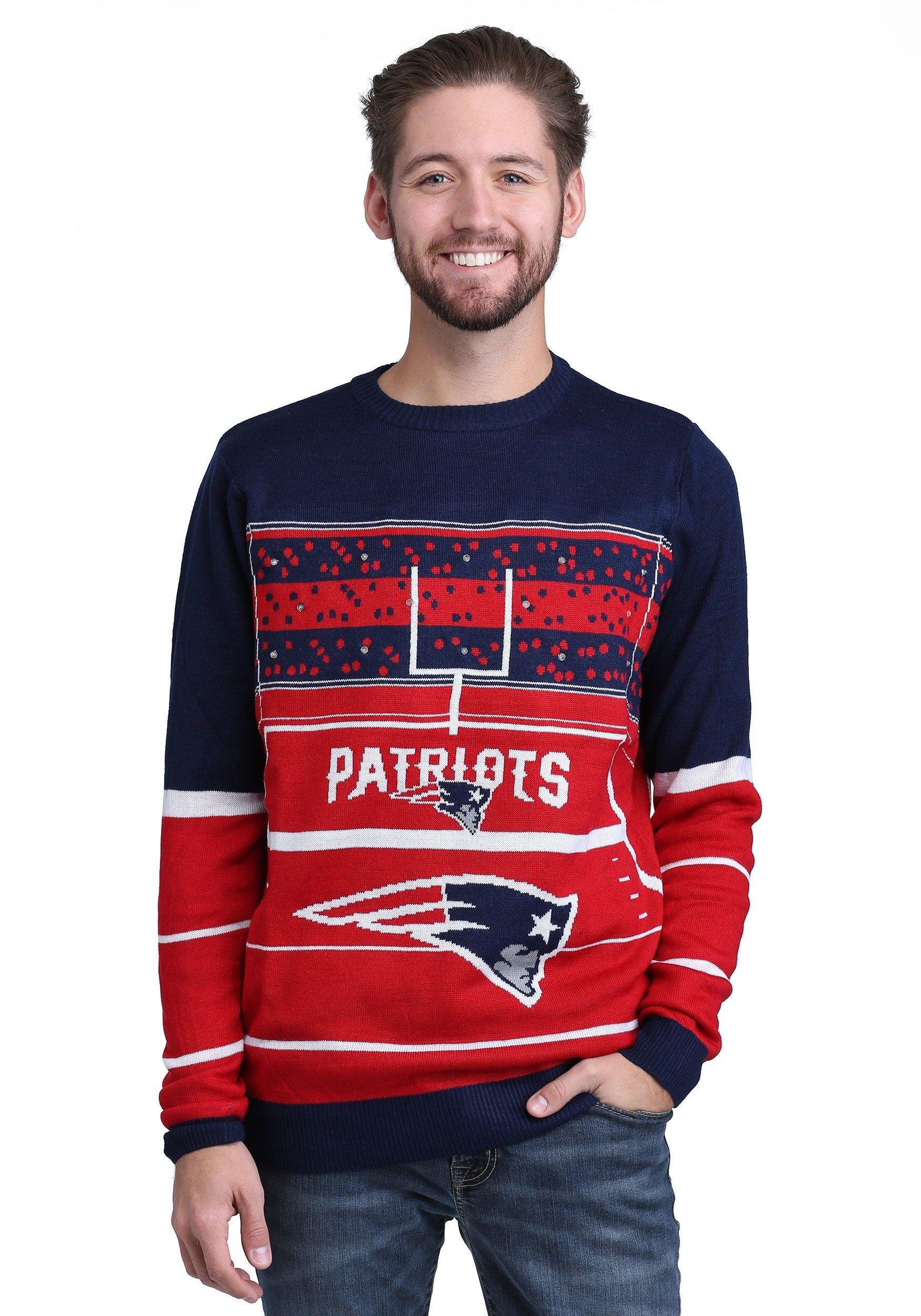 FOCO NFL New England Patriots Mens Stadium Light Up Crew Neck Sweaterstadium Light Up Crew Neck Sweater, Team Color, Large