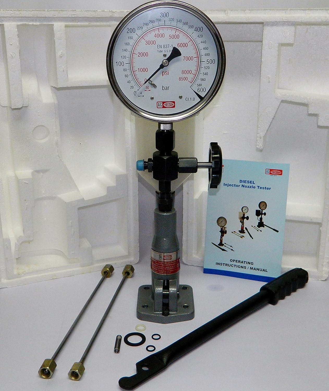 Diesel Einspritzd/üse Pop Tester mit 0 6000/psi Dual-Skala Gauge 400/bar//0