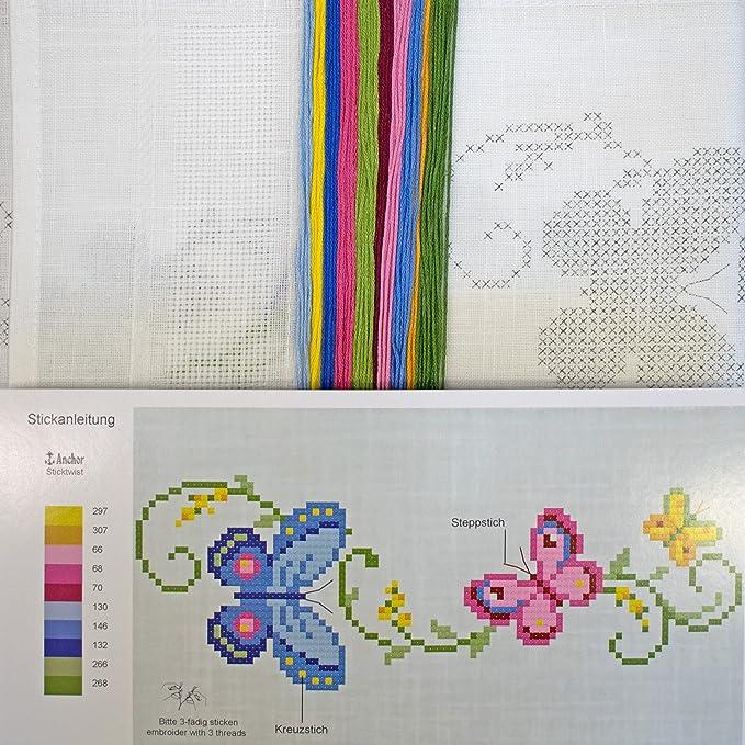 Stickpackung SCHMETTERLINGS-RANKE / Blumen Stickset mit Stickvorlage ...